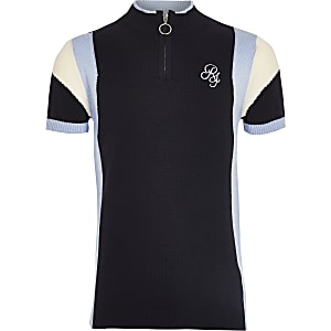 Boys navy RI zip polo shirt
