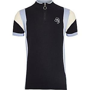 Marineblauw poloshirt met RI-logo en rits voor jongens
