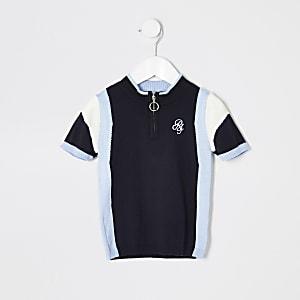 Polo en maille rayé bleu mini garçon
