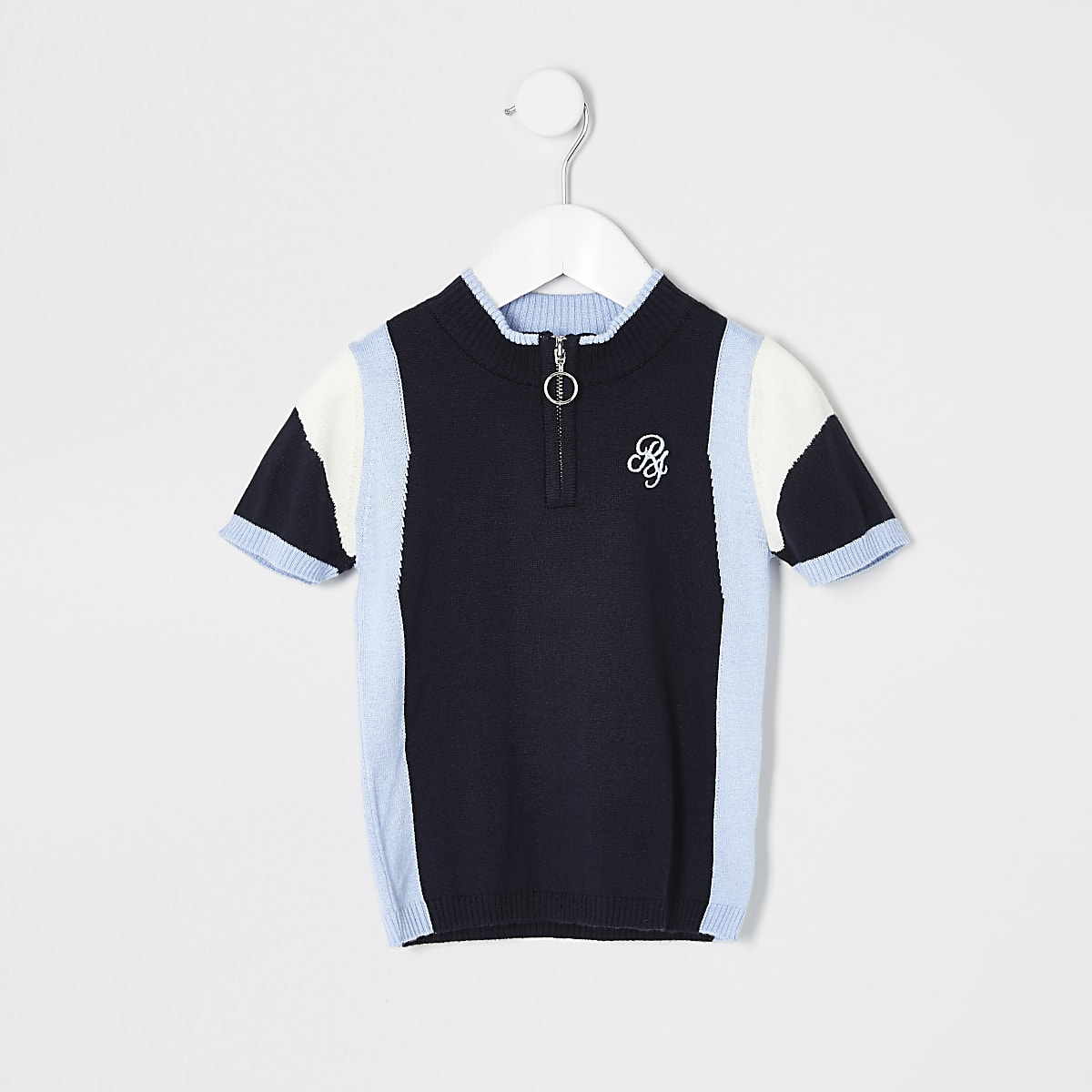 Mini boys blue stripe knitted polo shirt