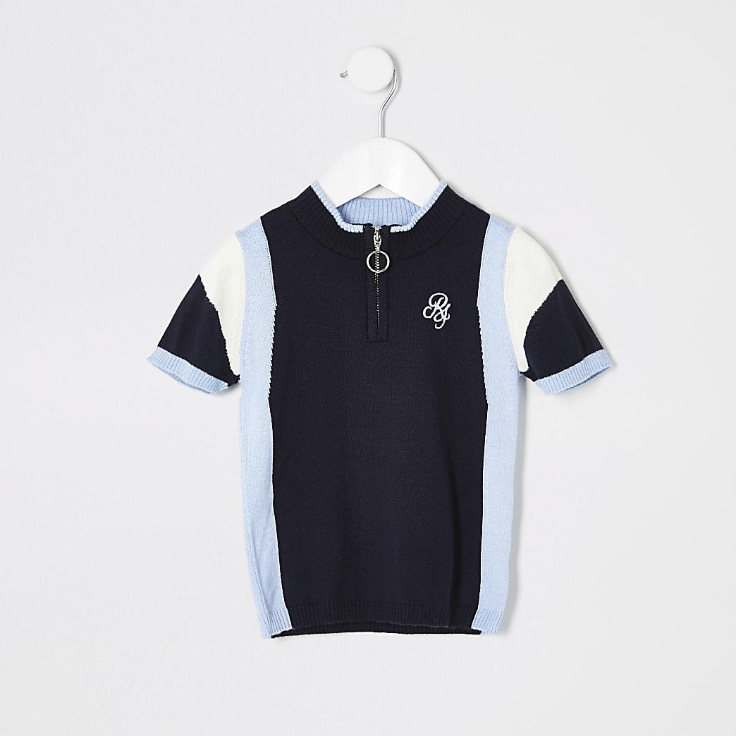Mini boys blue stripe knitted polo shirt