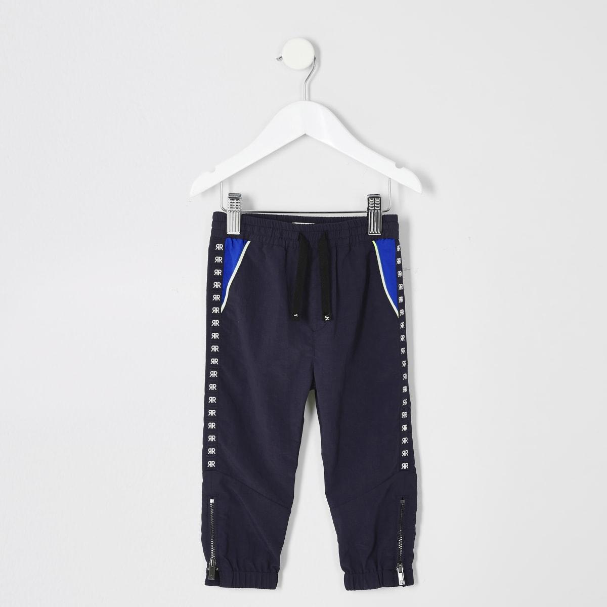 Mini boys navy tape pants