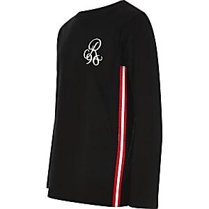 R96 - Zwart T-shirt met lange mouwen voor jongens