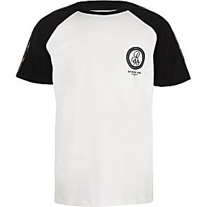 Boys white R96 camo tape T-shirt