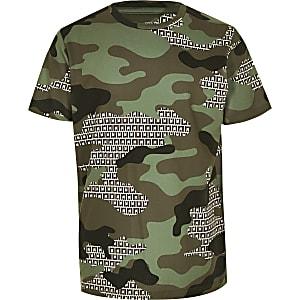 Kaki T-shirt met RI- en camouflageprint voor jongens