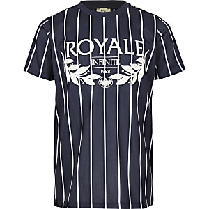 Boys blue stripe 'Royale' print T-shirt