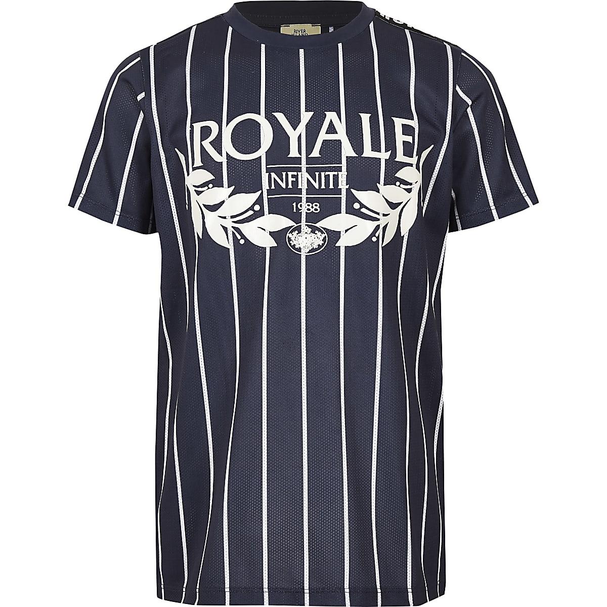 Boys blue stripe 'Royale' print T-shirt