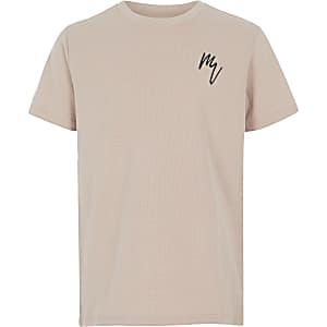 T-shirt texturé grège pour garçon