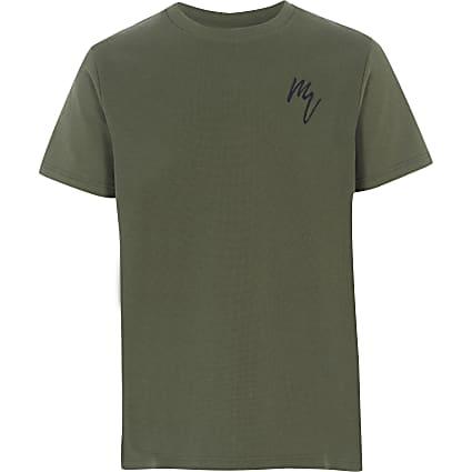 Boys khaki textured T-shirt
