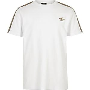 T-shirt à bande à carreaux blanc pour garçon