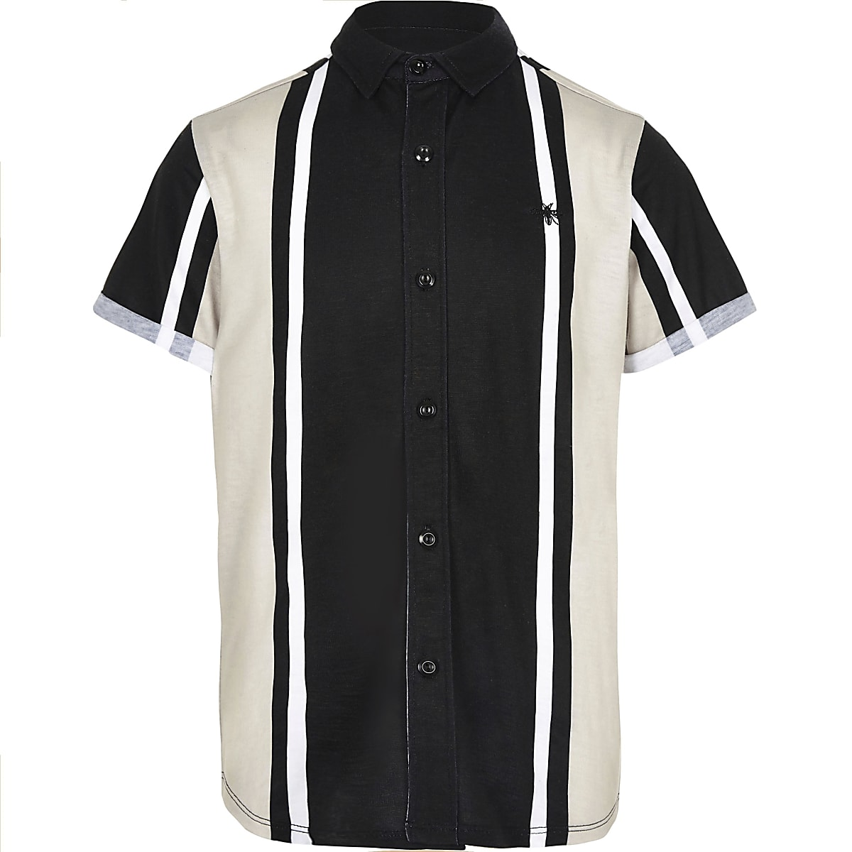 Boys black vertical stripe shirt
