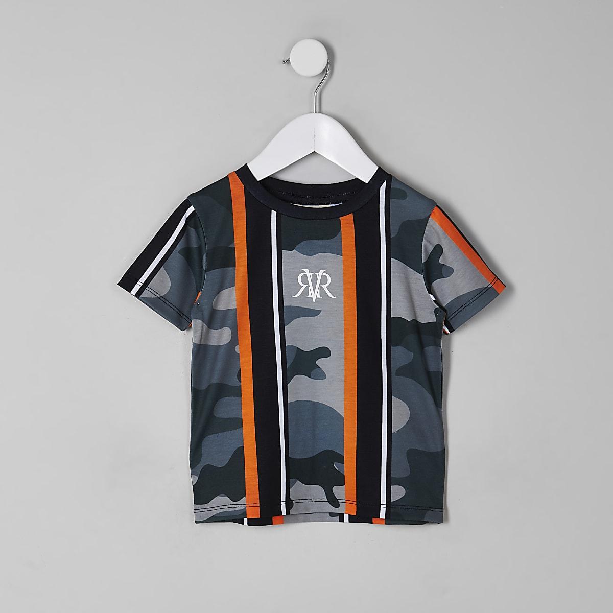 Mini boys khaki camo stripe T-shirt