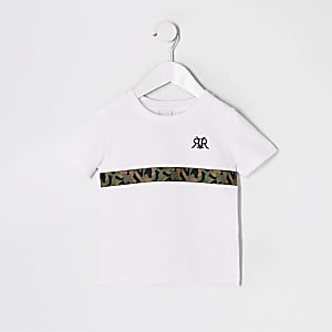 Mini boys white camo trim T-shirt