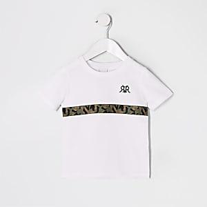 Mini boys white camo trim T-shirt