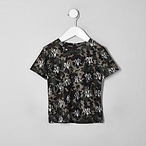 T-shirt camouflage kaki à logo RI pour mini garçon