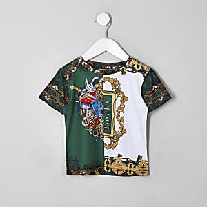 Mini - Groen T-shirt met barokprint voor jongens