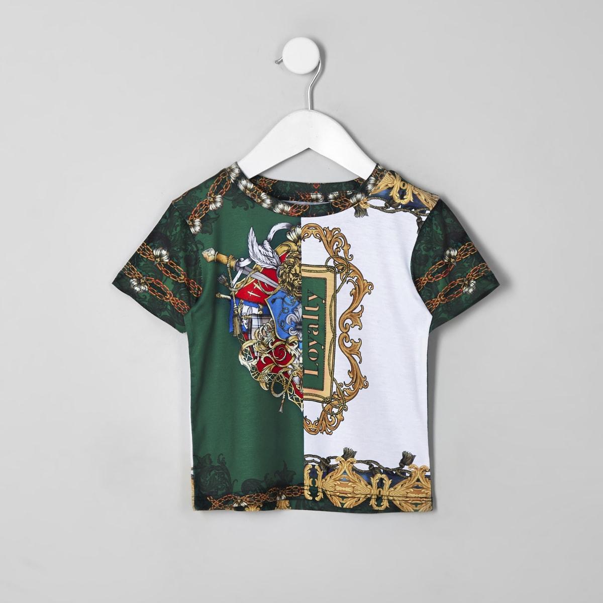 Mini boys green baroque print T-shirt