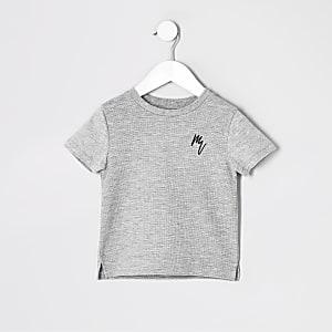 Mini - Grijs gemêleerd T-shirt met wafeldessin