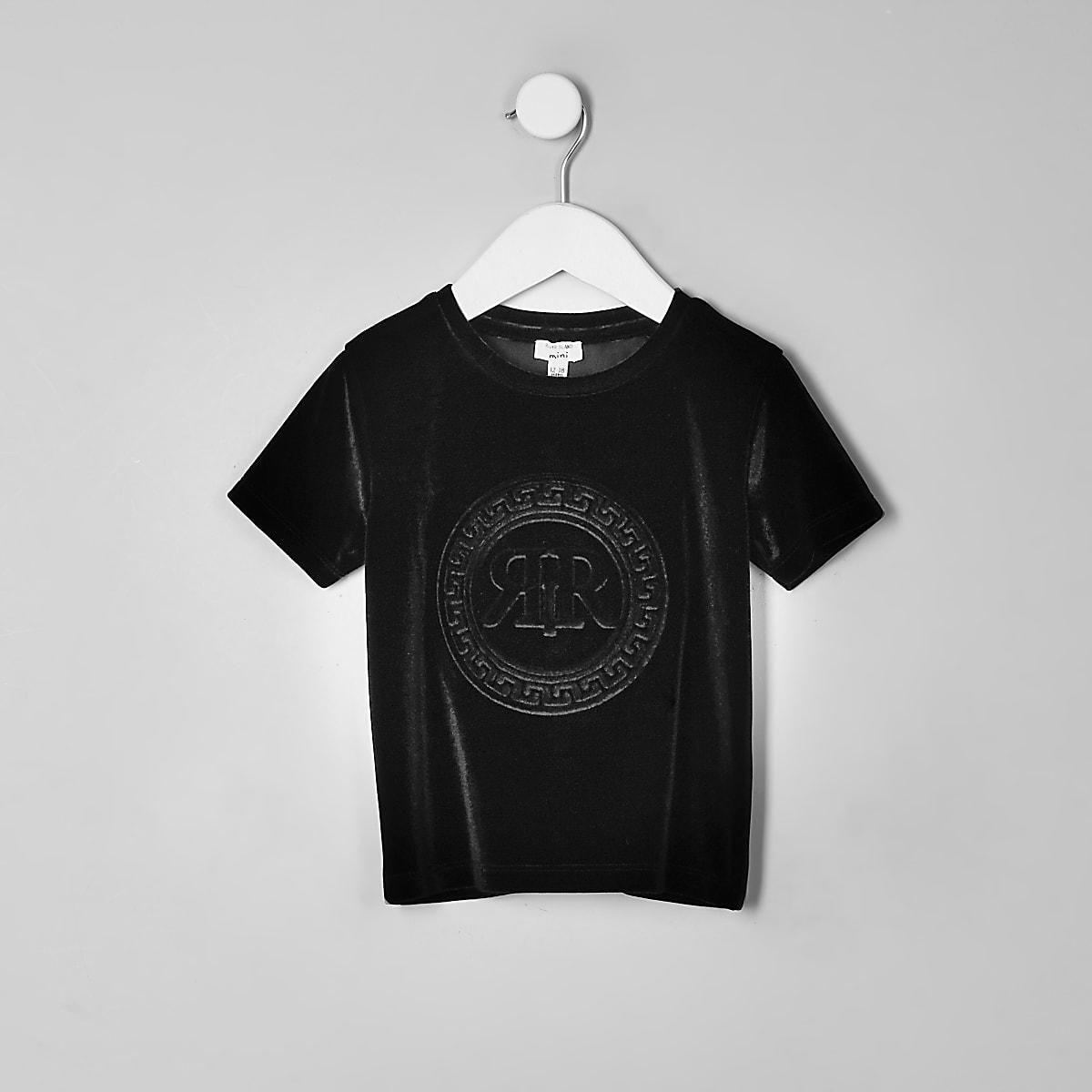 Mini boys black RI velour T-shirt