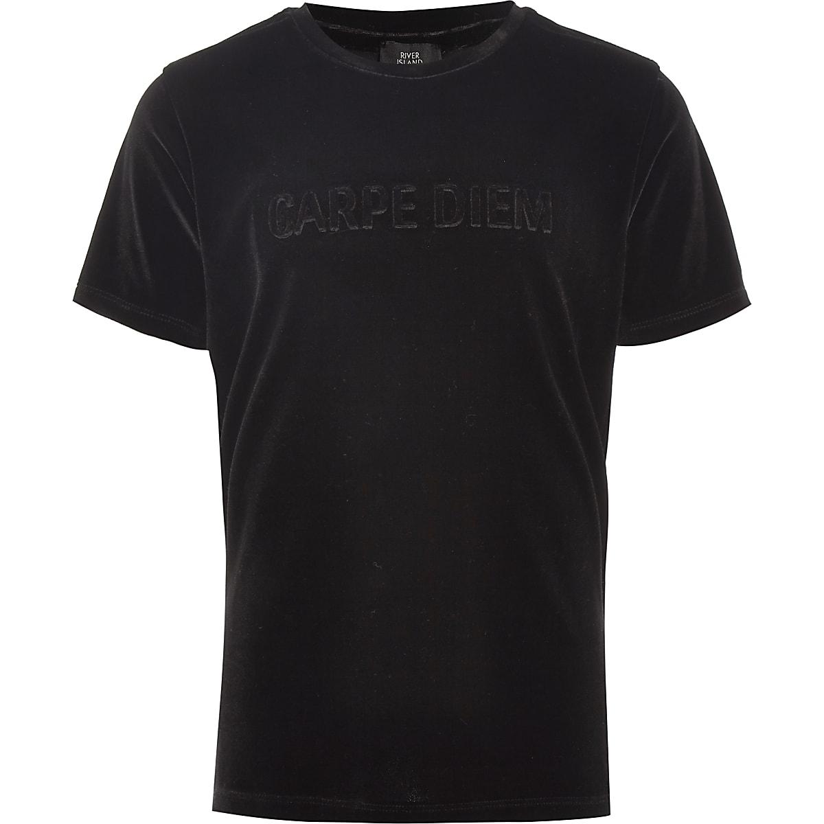 Boys black 'Carpe diem' velour T-shirt