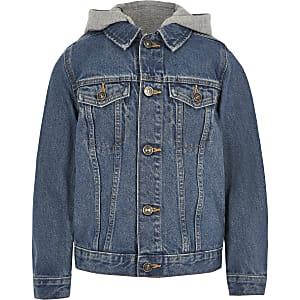 Veste en denim bleue à capuche pour garçon