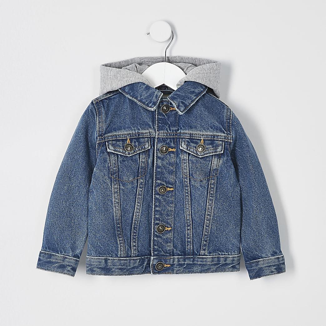 Veste en jean bleue à capuche pour mini garçon