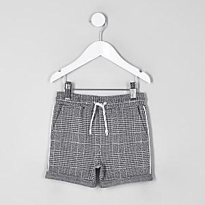Mini - Grijze geruite jersey short voor jongens