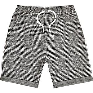 Short en jersey à carreaux gris pour garçon