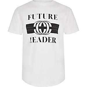 Weißes T-Shirt mit Print und abgerundetem Saum