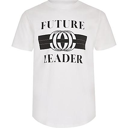 Boys white printed curve hem T-shirt