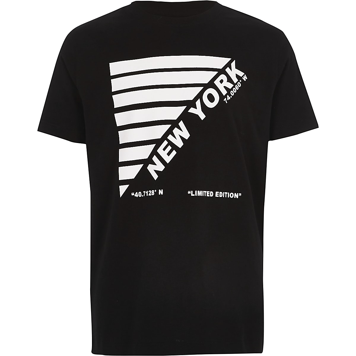 Boys black 'New York' print T-shirt