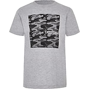Boys grey camo T-shirt