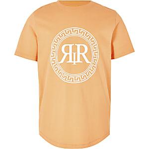 Boys orange RI icon print T-shirt