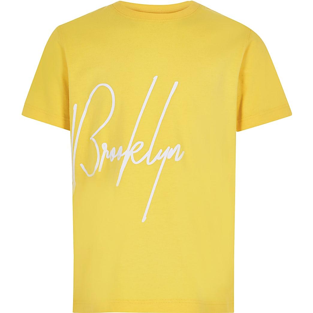 Geel T-shirt met 'Brooklyn'-print voor jongens