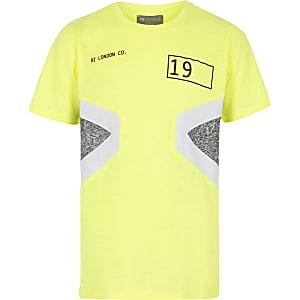 RI Active – Neongelbes T-Shirt in Blockfarben