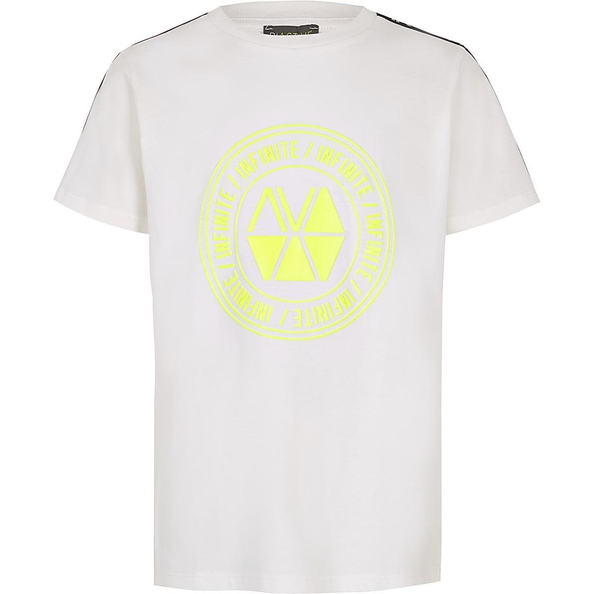 RI Active - Wit T-shirt met bies voor jongens