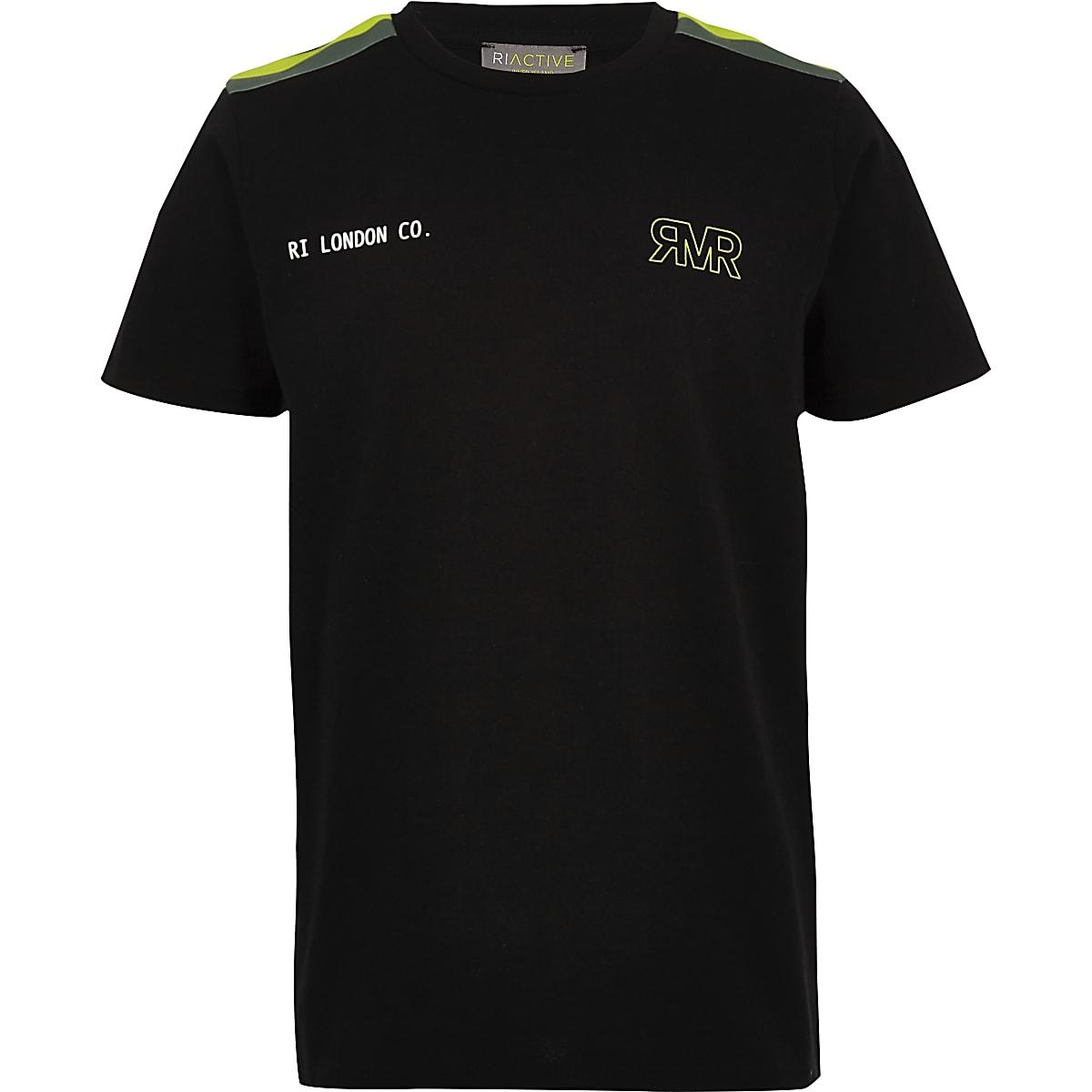 RI Active - Zwart T-shirt met bies voor jongens