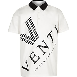 Boys white 'Venti' print polo shirt