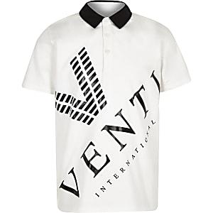 """Weißes Polohemd mit """"Venti""""-Print"""