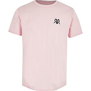 T-shirt rose à logo RI avec ourlet arrondi pour garçon