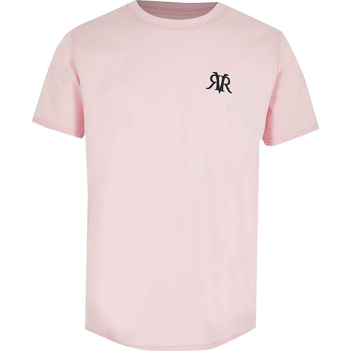 Boys pink RI curve hem T-shirt