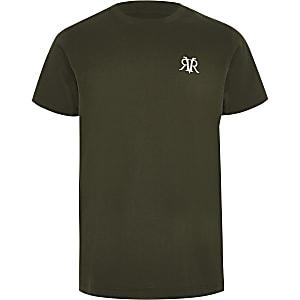Kaki T-shirt met RI-logo ronde zoom voor jongens