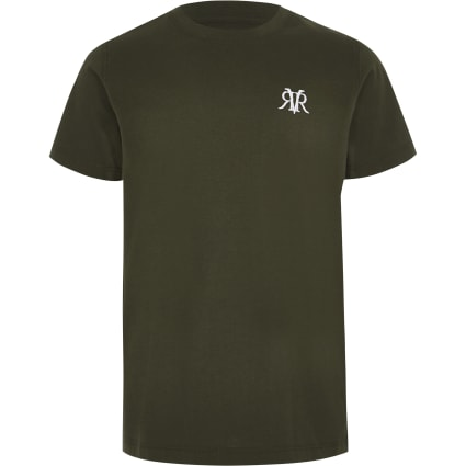 Boys khaki RI curve hem T-shirt
