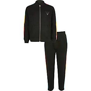 Boys black rainbow track outfit