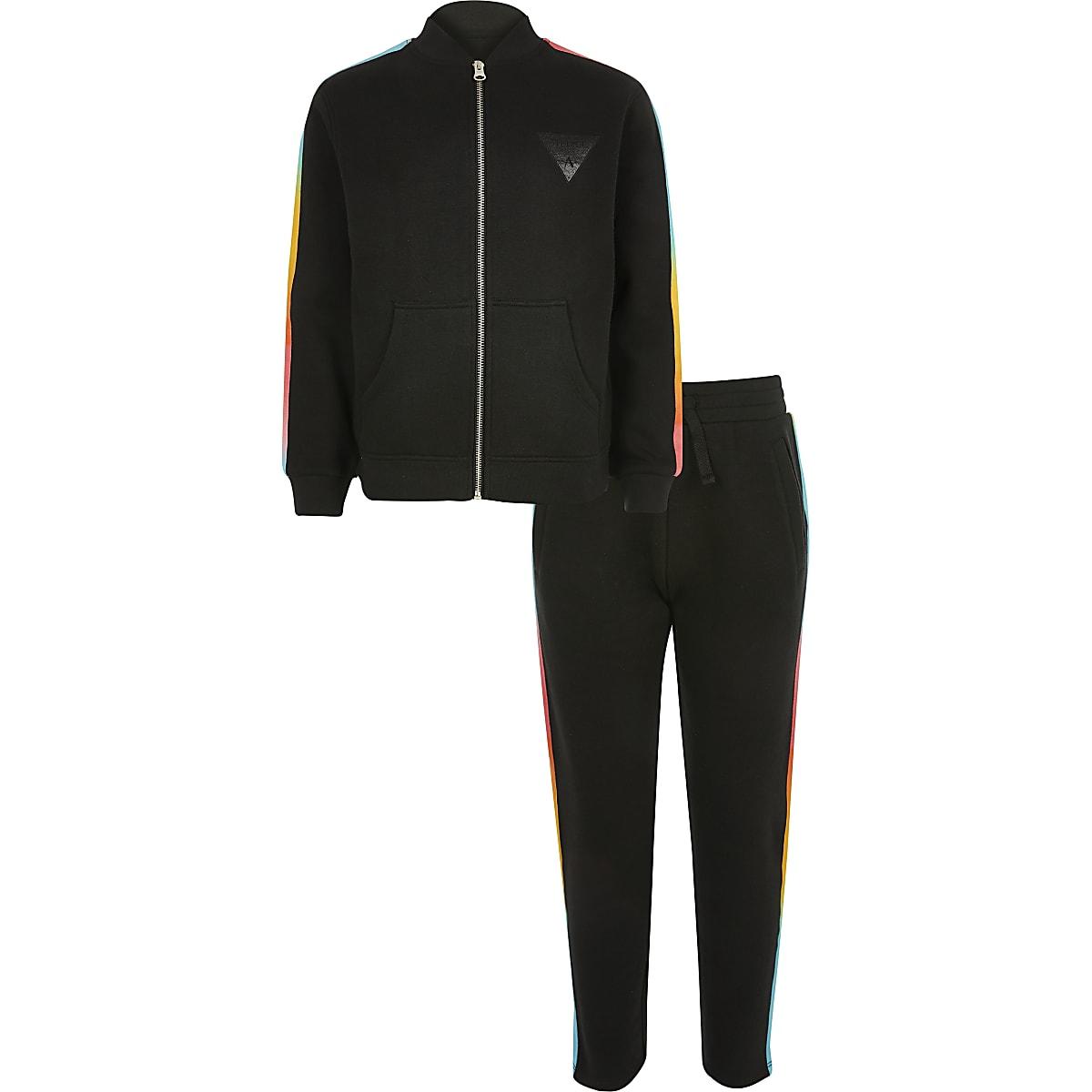 Boys black rainbow track outfit