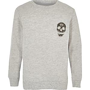 Grijs sweatshirt met diamantjes en doodshoofdprint voor jongens