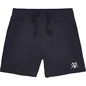Marineblauwe jersey short met RI-logo voor jongens