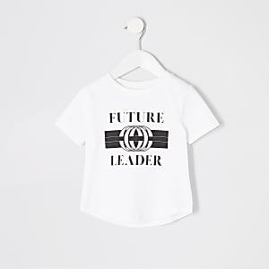 T-shirt blanc à ourlet arrondi imprimé mini garçon
