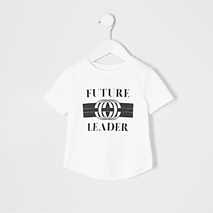 Mini boys white 'Future leader' T-shirt