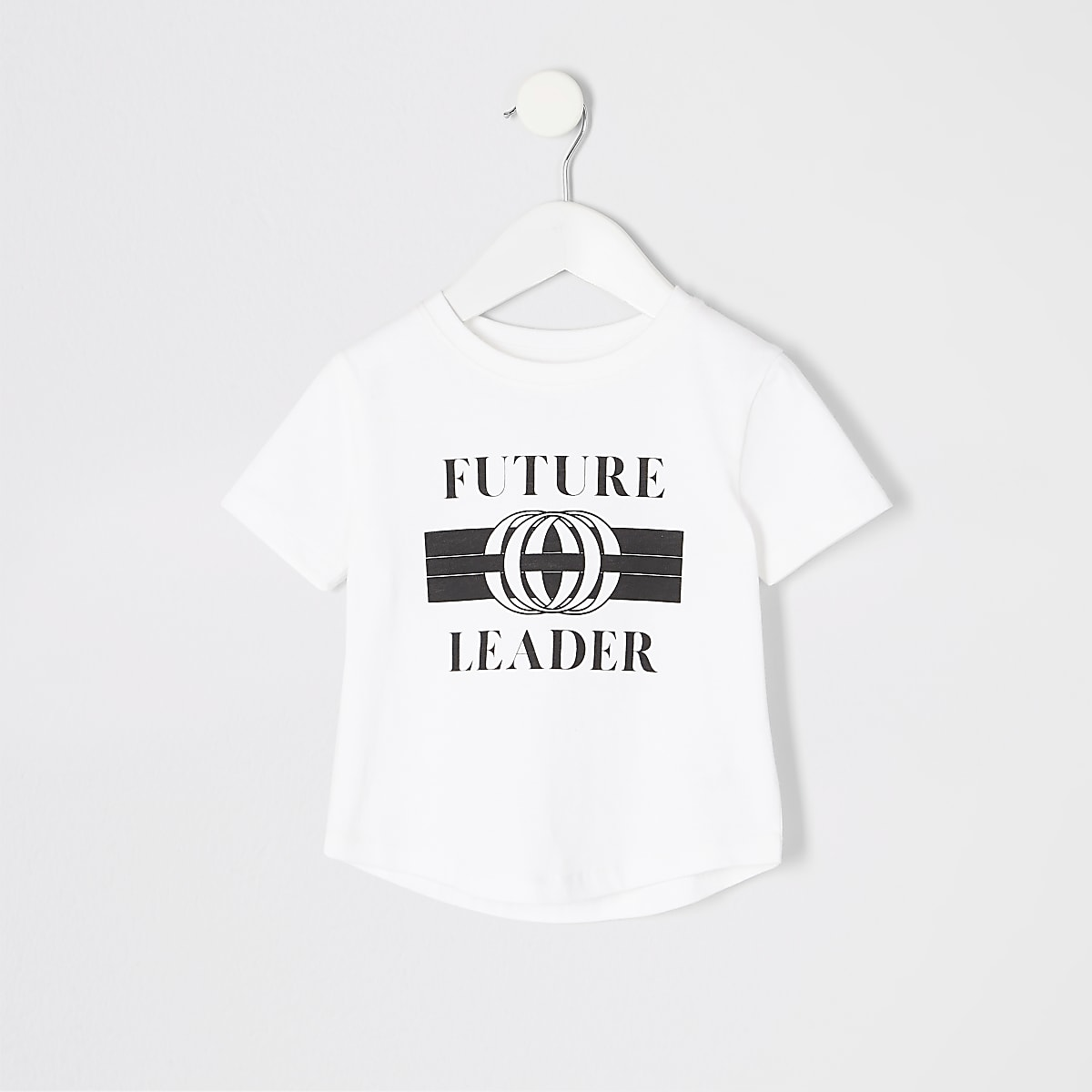 Mini boys white printed curve hem T-shirt